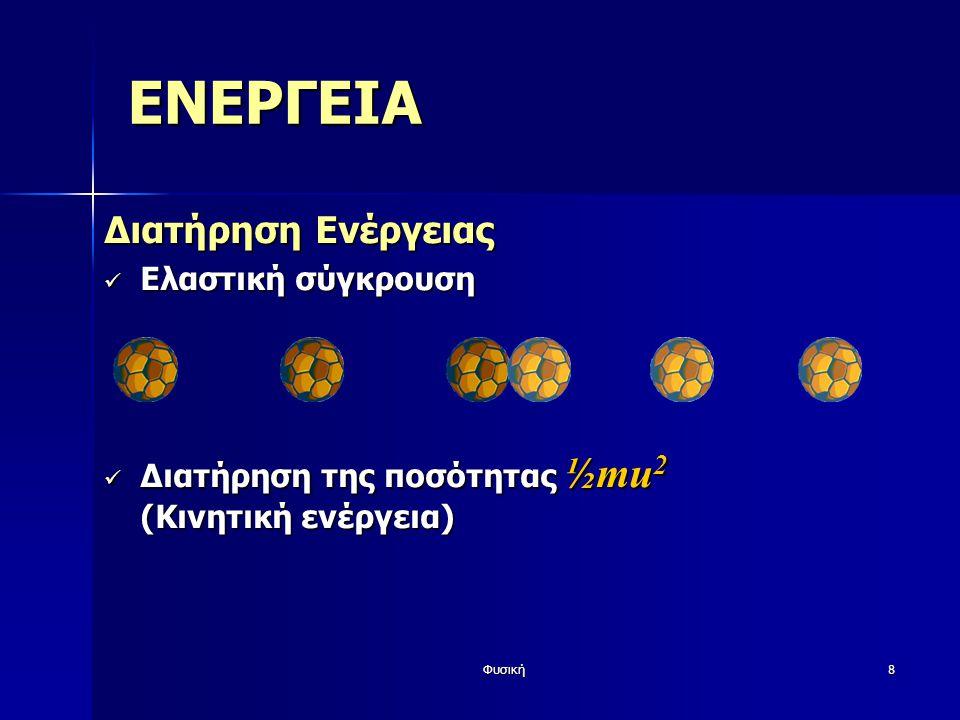 Φυσική8 ΕΝΕΡΓΕΙΑ Διατήρηση Ενέργειας Ελαστική σύγκρουση Ελαστική σύγκρουση Διατήρηση της ποσότητας ½mu 2 (Κινητική ενέργεια) Διατήρηση της ποσότητας ½mu 2 (Κινητική ενέργεια)