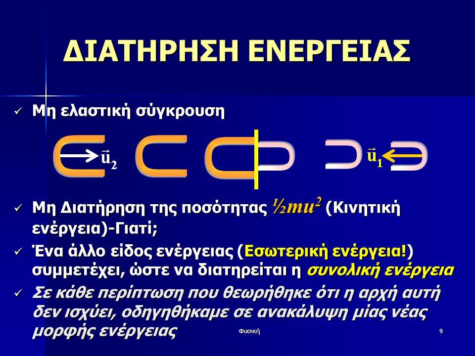 Φυσική9 Μη ελαστική σύγκρουση Μη ελαστική σύγκρουση Μη Διατήρηση της ποσότητας ½mu 2 (Κινητική ενέργεια)-Γιατί; Μη Διατήρηση της ποσότητας ½mu 2 (Κινητική ενέργεια)-Γιατί; Ένα άλλο είδος ενέργειας (Εσωτερική ενέργεια!) συμμετέχει, ώστε να διατηρείται η συνολική ενέργεια Ένα άλλο είδος ενέργειας (Εσωτερική ενέργεια!) συμμετέχει, ώστε να διατηρείται η συνολική ενέργεια Σε κάθε περίπτωση που θεωρήθηκε ότι η αρχή αυτή δεν ισχύει, οδηγηθήκαμε σε ανακάλυψη μίας νέας μορφής ενέργειας Σε κάθε περίπτωση που θεωρήθηκε ότι η αρχή αυτή δεν ισχύει, οδηγηθήκαμε σε ανακάλυψη μίας νέας μορφής ενέργειας ΔΙΑΤΗΡΗΣΗ ΕΝΕΡΓΕΙΑΣ