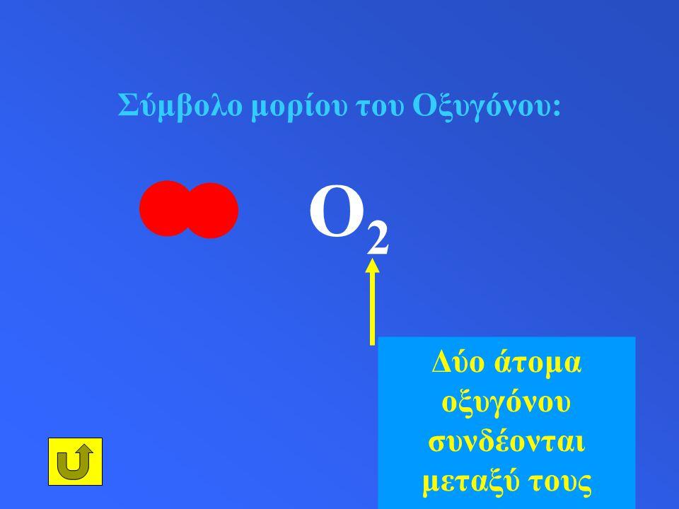Σύμβολο μορίου του Οξυγόνου: O 2 Δύο άτομα οξυγόνου συνδέονται μεταξύ τους