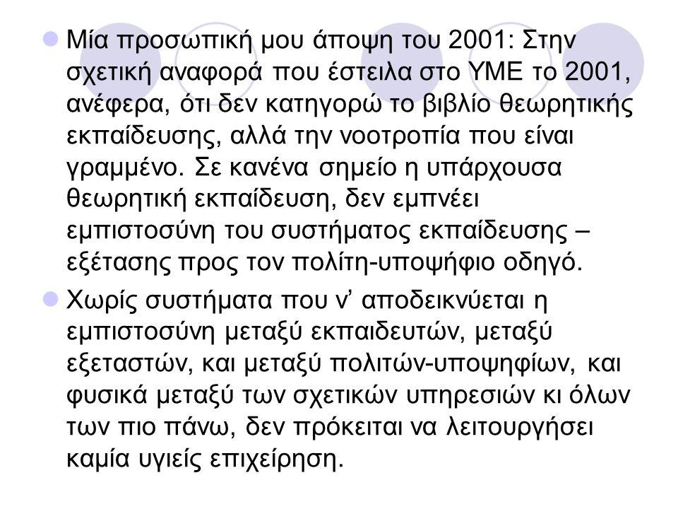 Μία προσωπική μου άποψη του 2001: Στην σχετική αναφορά που έστειλα στο ΥΜΕ το 2001, ανέφερα, ότι δεν κατηγορώ το βιβλίο θεωρητικής εκπαίδευσης, αλλά τ