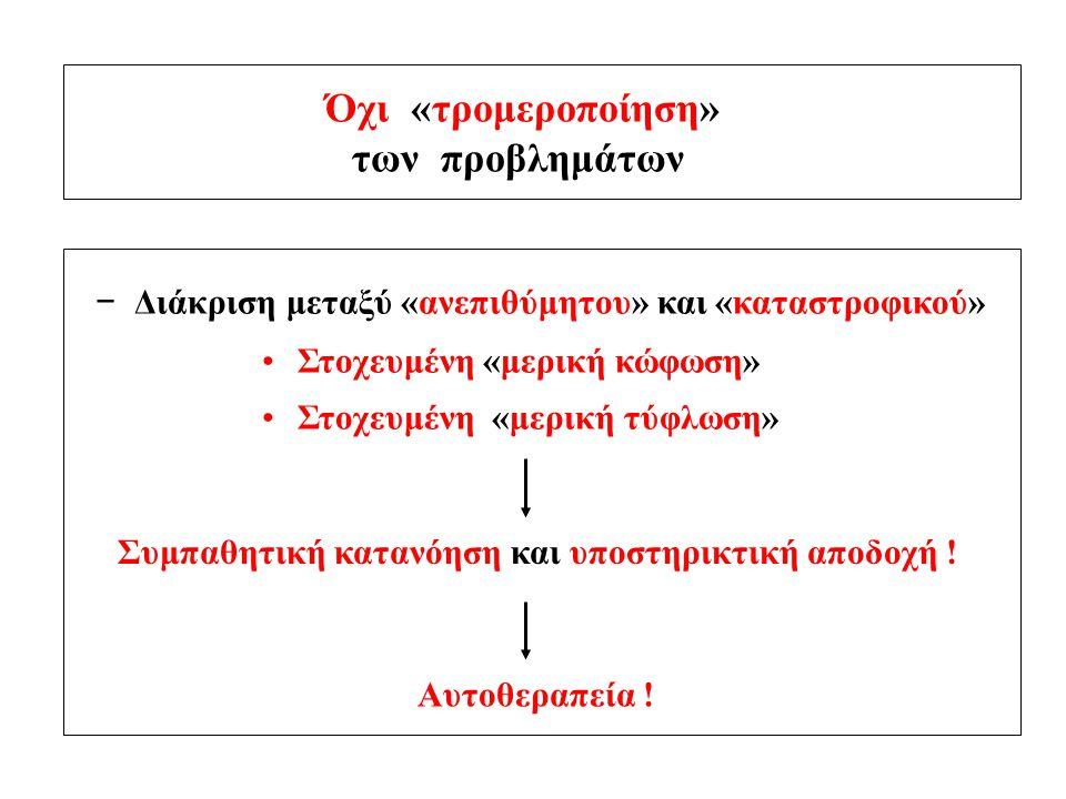Όχι «τρομεροποίηση» των προβλημάτων − Διάκριση μεταξύ «ανεπιθύμητου» και «καταστροφικού» Στοχευμένη «μερική κώφωση» Στοχευμένη «μερική τύφλωση» Συμπαθ