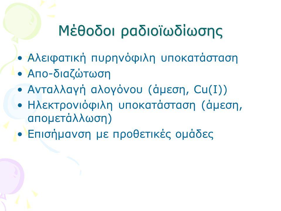 Μέθοδοι ραδιοϊωδίωσης Αλειφατική πυρηνόφιλη υποκατάσταση Απο-διαζώτωση Ανταλλαγή αλογόνου (άμεση, Cu(I)) Ηλεκτρονιόφιλη υποκατάσταση (άμεση, απομετάλλωση) Επισήμανση με προθετικές ομάδες