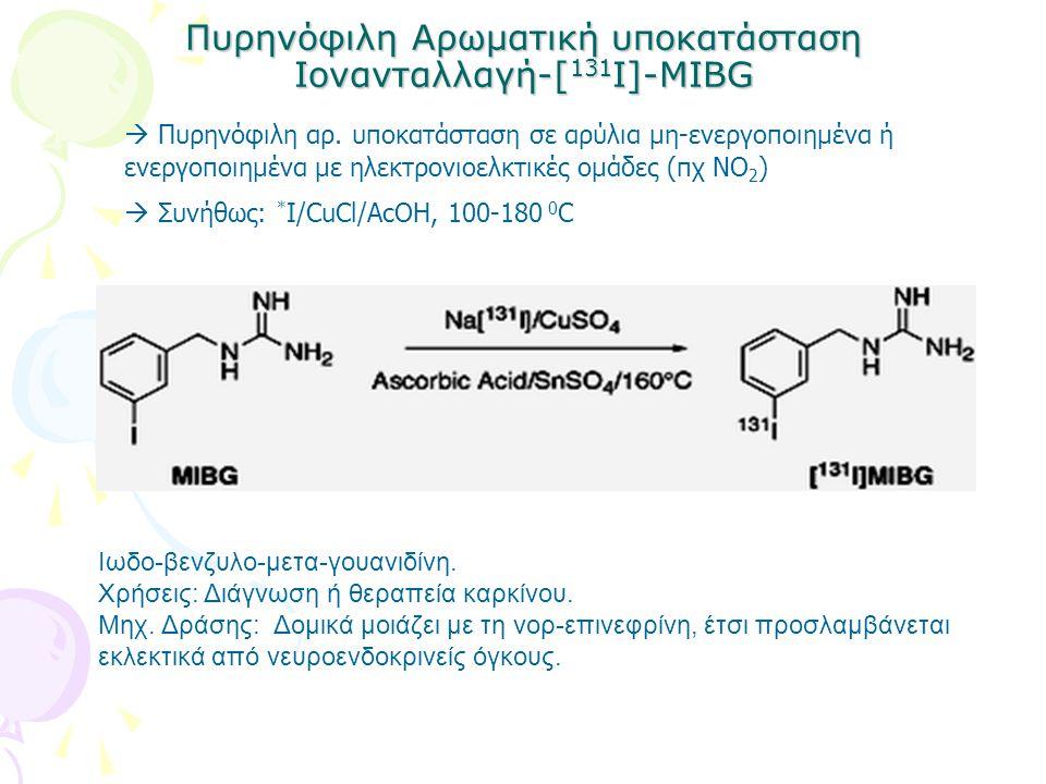 Πυρηνόφιλη Αρωματική υποκατάσταση Ιονανταλλαγή-[ 131 Ι]-ΜIBG Ιωδο-βενζυλο-μετα-γουανιδίνη. Χρήσεις: Διάγνωση ή θεραπεία καρκίνου. Μηχ. Δράσης: Δομικά