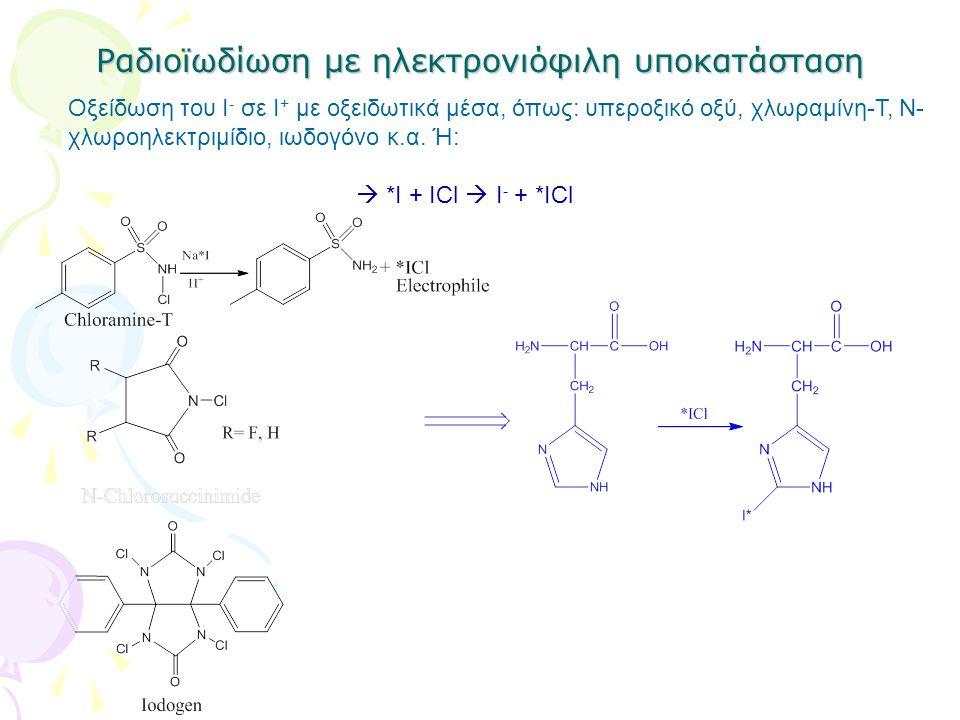 Ραδιοϊωδίωση με ηλεκτρονιόφιλη υποκατάσταση Οξείδωση του Ι - σε Ι + με οξειδωτικά μέσα, όπως: υπεροξικό οξύ, χλωραμίνη-Τ, Ν- χλωροηλεκτριμίδιο, ιωδογό
