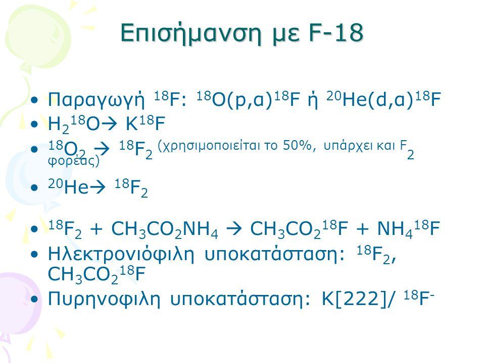 Επισήμανση με F-18 Παραγωγή 18 F: 18 Ο(p,α) 18 F ή 20 He(d,α) 18 F H 2 18 O  K 18 F 18 O 2  18 F 2 (χρησιμοποιείται το 50%, υπάρχει και F 2 φορέας) 20 He  18 F 2 18 F 2 + CH 3 CO 2 NH 4  CH 3 CO 2 18 F + NH 4 18 F Ηλεκτρονιόφιλη υποκατάσταση: 18 F 2, CH 3 CO 2 18 F Πυρηνοφιλη υποκατάσταση: Κ[222]/ 18 F -