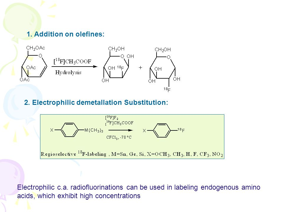1. Addition on olefines: 2. Electrophilic demetallation Substitution: Electrophilic c.a. radiofluorinations can be used in labeling endogenous amino a