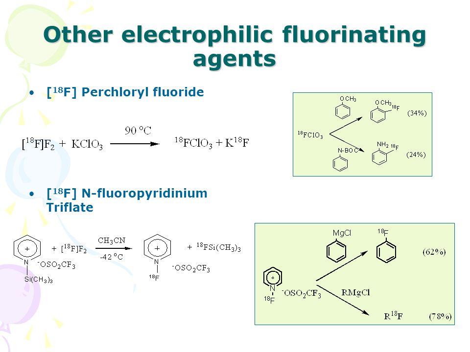 Other electrophilic fluorinating agents [ 18 F] Perchloryl fluoride [ 18 F] N-fluoropyridinium Triflate
