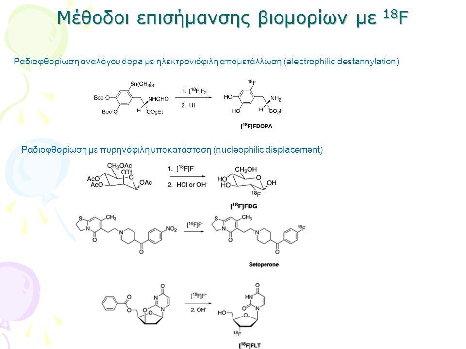 Μέθοδοι επισήμανσης βιομορίων με 18 F Ραδιοφθορίωση αναλόγου dopa με ηλεκτρονιόφιλη απομετάλλωση (electrophilic destannylation) Ραδιοφθορίωση με πυρην