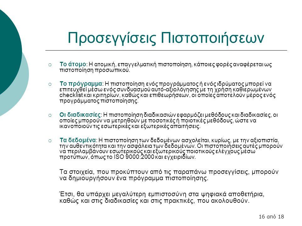 16 από 18 Προσεγγίσεις Πιστοποιήσεων  Το άτομο: Η ατομική, επαγγελματική πιστοποίηση, κάποιες φορές αναφέρεται ως πιστοποίηση προσωπικού.