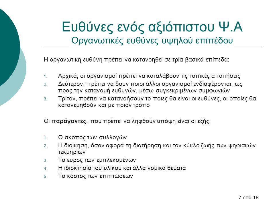 7 από 18 Ευθύνες ενός αξιόπιστου Ψ.Α Οργανωτικές ευθύνες υψηλού επιπέδου Η οργανωτική ευθύνη πρέπει να κατανοηθεί σε τρία βασικά επίπεδα: 1.