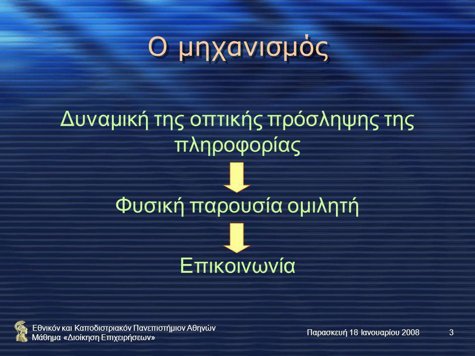 Εθνικόν και Καποδιστριακόν Πανεπιστήμιον Αθηνών Μάθημα «Διοίκηση Επιχειρήσεων» Παρασκευή 18 Ιανουαρίου 200814 Τα «μάλλον πρέπει» Στην αρχή της παρουσίασης οι διαφάνειες να διανέμονται στο ακροατήριο Οι διαφάνειες να ταιριάζουν αισθητικώς με τον σκοπό της παρουσίασης Οργανισμός, ημερομηνία, όνομα, αριθμός διαφάνειας, … Ενδιαφέροντα πρότυπα και χρώματα Διάταξη, γραμματοσειρά και μέγεθος, … μόνο βάσει του προτύπου σχεδίασης Το πολύ 1 διαφάνεια ανά λεπτό και 5 – 6 προτάσεις ανά διαφάνεια Σωστή ορθογραφία, στίξη, συντακτικό