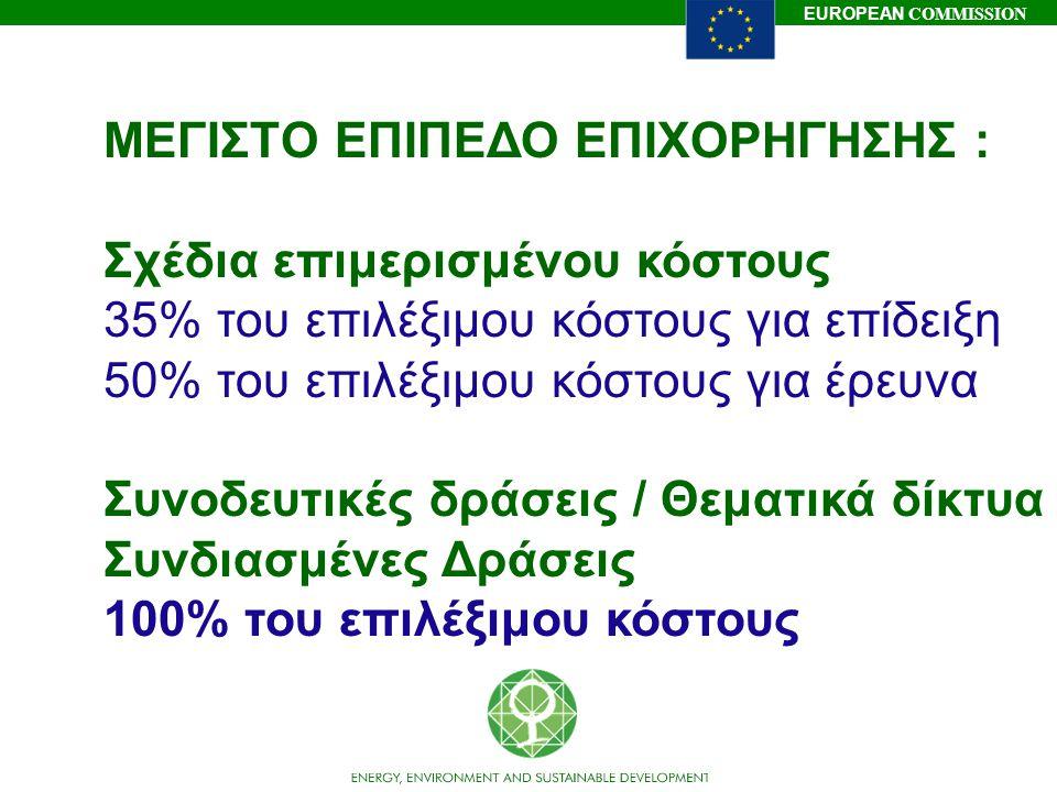 EUROPEAN COMMISSION ΜΕΓΙΣΤΟ ΕΠΙΠΕΔΟ ΕΠΙΧΟΡΗΓΗΣΗΣ : Σχέδια επιμερισμένου κόστους 35% του επιλέξιμου κόστους για επίδειξη 50% του επιλέξιμου κόστους για