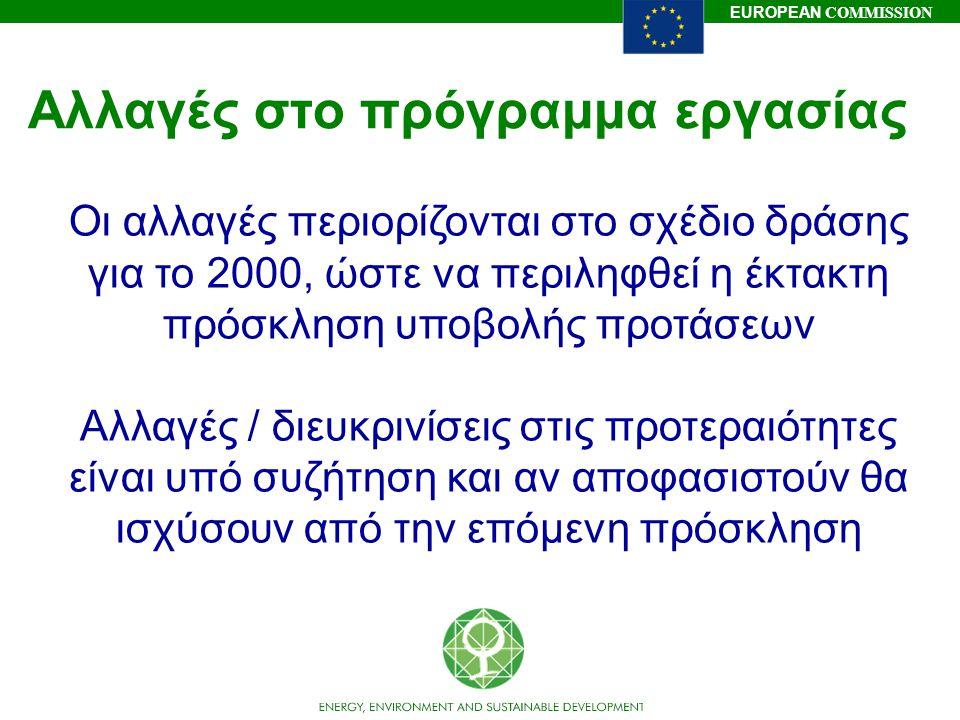EUROPEAN COMMISSION Αλλαγές στο πρόγραμμα εργασίας Οι αλλαγές περιορίζονται στο σχέδιο δράσης για το 2000, ώστε να περιληφθεί η έκτακτη πρόσκληση υποβ
