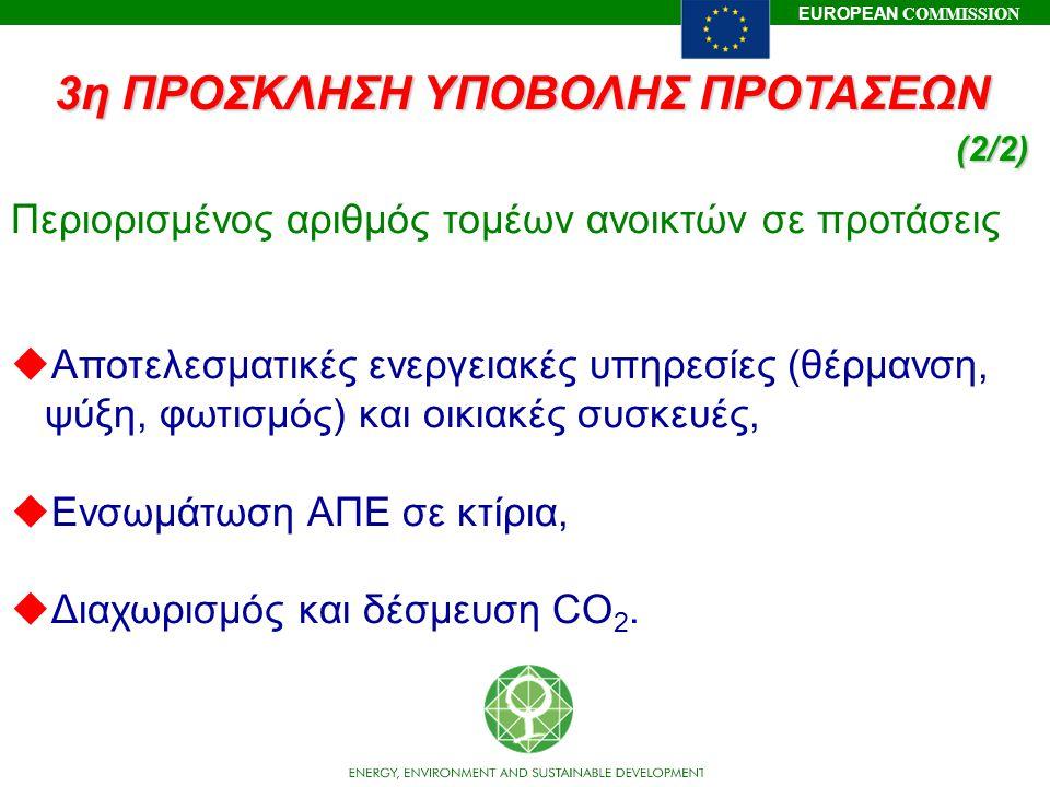 EUROPEAN COMMISSION Περιορισμένος αριθμός τομέων ανοικτών σε προτάσεις uΑποτελεσματικές ενεργειακές υπηρεσίες (θέρμανση, ψύξη, φωτισμός) και οικιακές