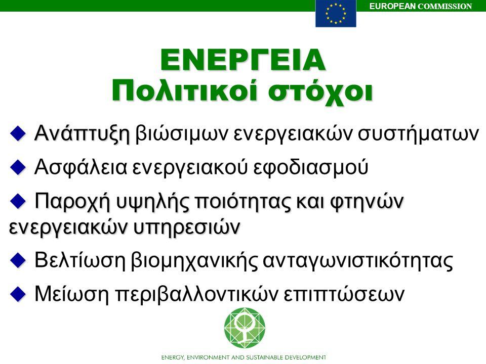 EUROPEAN COMMISSION ΕΝΕΡΓΕΙΑ Πολιτικοί στόχοι u Ανάπτυξη u Ανάπτυξη βιώσιμων ενεργειακών συστήματων u u Ασφάλεια ενεργειακού εφοδιασμού u Παροχή υψηλή