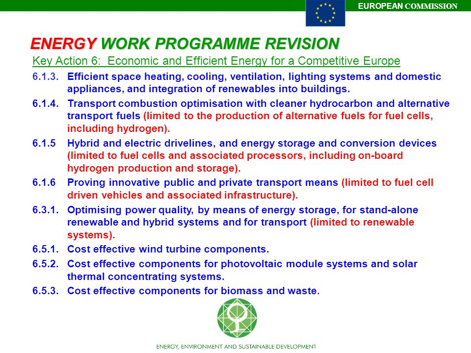 EUROPEAN COMMISSION ENERGY WORK PROGRAMME REVISION Key Action 6: Economic and Efficient Energy for a Competitive Europe 6.1.3.Efficient space heating, cooling, ventilation, lighting systems and domestic appliances, and integration of renewables into buildings.