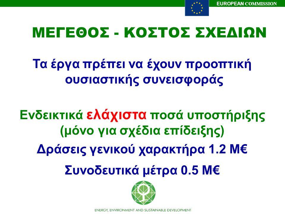 EUROPEAN COMMISSION ΜΕΓΕΘΟΣ - ΚΟΣΤΟΣ ΣΧΕΔΙΩΝ Τα έργα πρέπει να έχουν προοπτική ουσιαστικής συνεισφοράς Ενδεικτικά ελάχιστα ποσά υποστήριξης (μόνο για