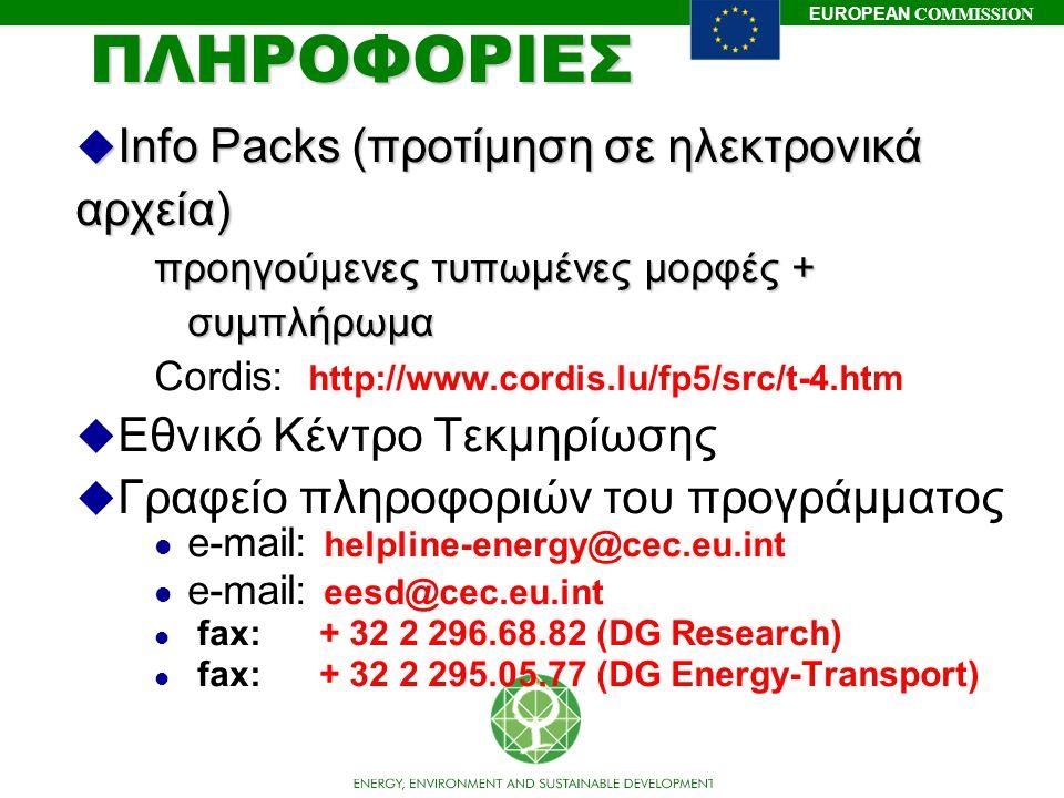 EUROPEAN COMMISSIONΠΛΗΡΟΦΟΡΙΕΣ u Info Packs (προτίμηση σε ηλεκτρονικά αρχεία) προηγούμενες τυπωμένες μορφές + συμπλήρωμα Cordis: http://www.cordis.lu/