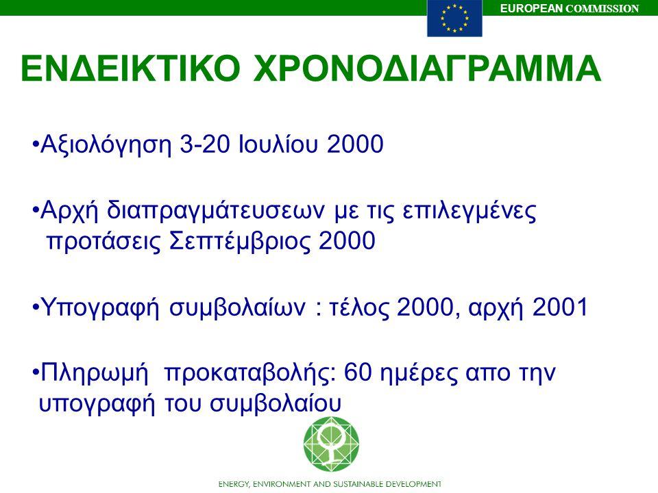 EUROPEAN COMMISSION ΕΝΔΕΙΚΤΙΚΟ ΧΡΟΝΟΔΙΑΓΡΑΜΜΑ Αξιολόγηση 3-20 Ιουλίου 2000 Αρχή διαπραγμάτευσεων με τις επιλεγμένες προτάσεις Σεπτέμβριος 2000 Υπογραφ