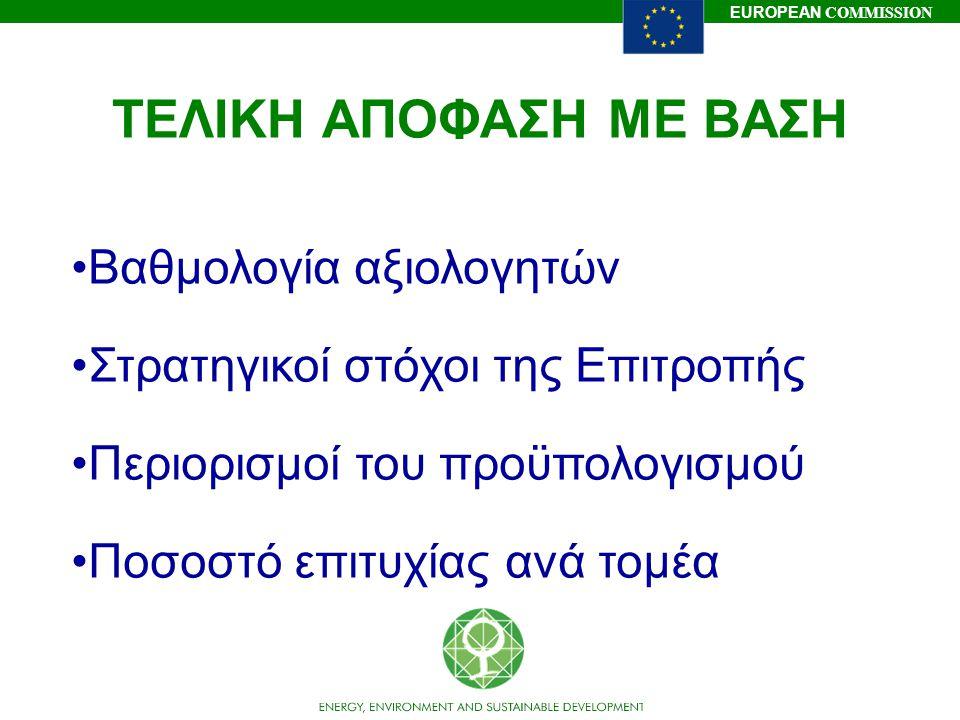 EUROPEAN COMMISSION ΤΕΛΙΚΗ ΑΠΟΦΑΣΗ ΜΕ ΒΑΣΗ Βαθμολογία αξιολογητών Στρατηγικοί στόχοι της Επιτροπής Περιορισμοί του προϋπολογισμού Ποσοστό επιτυχίας αν