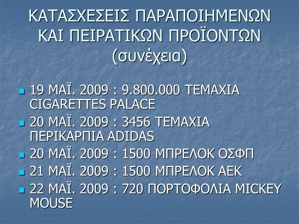 ΚΑΤΑΣΧΕΣΕΙΣ ΠΑΡΑΠΟΙΗΜΕΝΩΝ ΚΑΙ ΠΕΙΡΑΤΙΚΩΝ ΠΡΟΪΟΝΤΩΝ (συνέχεια) 19 MAΪ. 2009 : 9.800.000 ΤΕΜΑΧΙΑ CIGARETTES PALACE 19 MAΪ. 2009 : 9.800.000 ΤΕΜΑΧΙΑ CIGA