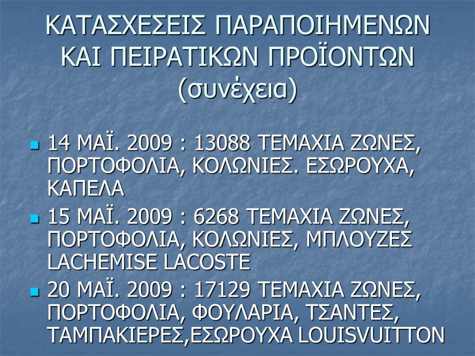 ΚΑΤΑΣΧΕΣΕΙΣ ΠΑΡΑΠΟΙΗΜΕΝΩΝ ΚΑΙ ΠΕΙΡΑΤΙΚΩΝ ΠΡΟΪΟΝΤΩΝ (συνέχεια) 14 MAΪ. 2009 : 13088 ΤΕΜΑΧΙΑ ΖΩΝΕΣ, ΠΟΡΤΟΦΟΛΙΑ, ΚΟΛΩΝΙΕΣ. ΕΣΩΡΟΥΧΑ, ΚΑΠΕΛΑ 14 MAΪ. 2009