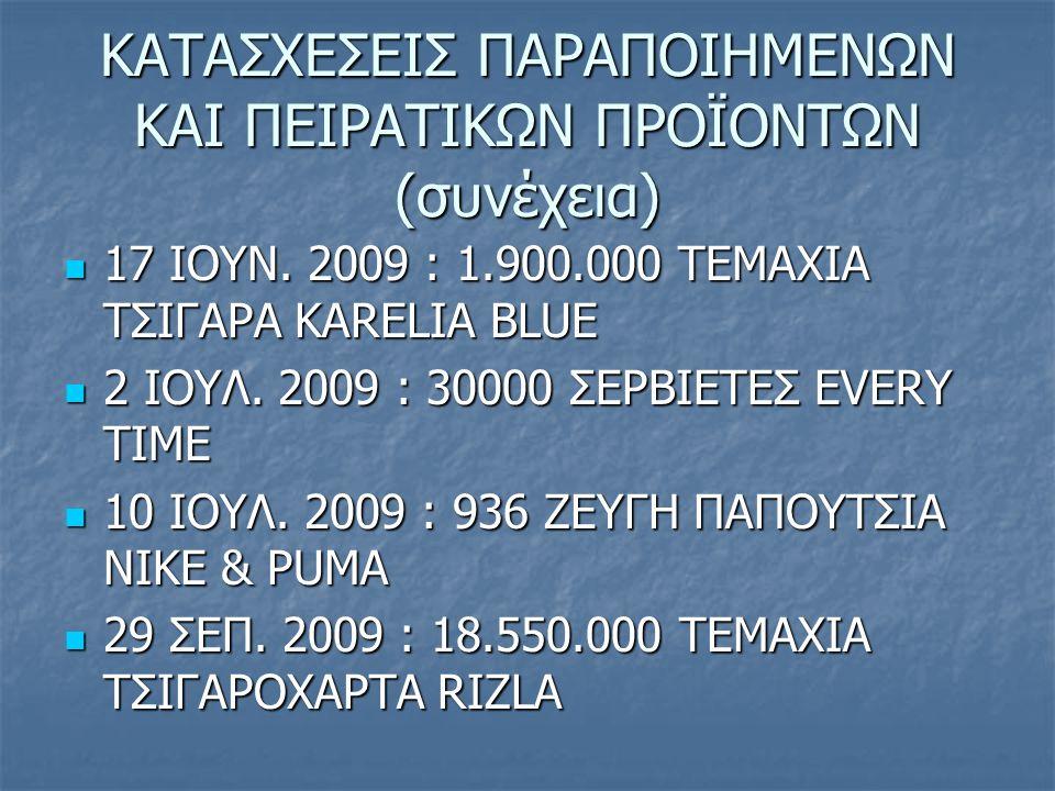 ΚΑΤΑΣΧΕΣΕΙΣ ΠΑΡΑΠΟΙΗΜΕΝΩΝ ΚΑΙ ΠΕΙΡΑΤΙΚΩΝ ΠΡΟΪΟΝΤΩΝ (συνέχεια) 17 ΙΟΥΝ. 2009 : 1.900.000 ΤΕΜΑΧΙΑ ΤΣΙΓΑΡΑ KARELIA BLUE 17 ΙΟΥΝ. 2009 : 1.900.000 ΤΕΜΑΧΙΑ