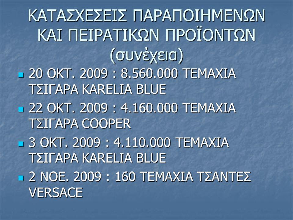 ΚΑΤΑΣΧΕΣΕΙΣ ΠΑΡΑΠΟΙΗΜΕΝΩΝ ΚΑΙ ΠΕΙΡΑΤΙΚΩΝ ΠΡΟΪΟΝΤΩΝ (συνέχεια) 20 ΟΚΤ. 2009 : 8.560.000 ΤΕΜΑΧΙΑ ΤΣΙΓΑΡΑ KARELIA BLUE 20 ΟΚΤ. 2009 : 8.560.000 ΤΕΜΑΧΙΑ Τ