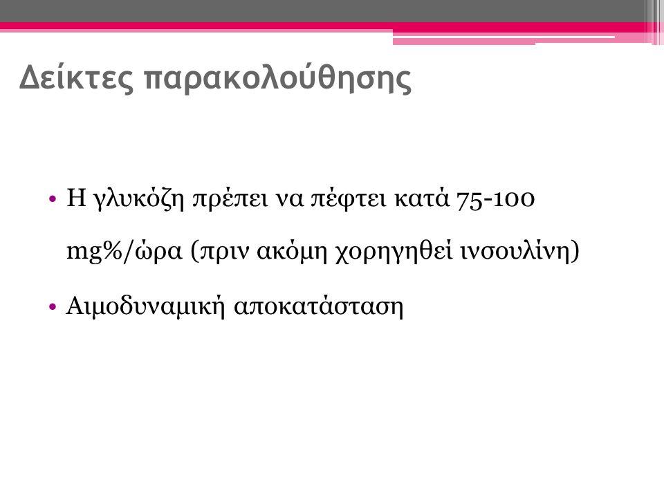 Δείκτες παρακολούθησης Η γλυκόζη πρέπει να πέφτει κατά 75-100 mg%/ώρα (πριν ακόμη χορηγηθεί ινσουλίνη) Αιμοδυναμική αποκατάσταση