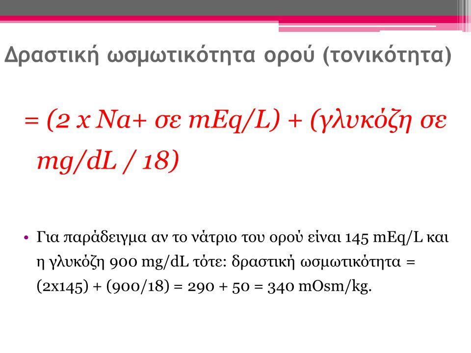 Διόρθωση Na + Είναι ψευδώς χαμηλό (επειδή η ωσμωτική δράση της γλυκόζης παρασύρει ύδωρ ενδαγγειακά) Διορθωμένο Na + ορού = Na + ορού + {[1,65 x (γλυκόζη σε mg/dl – 100] / 100} Για παράδειγμα αν το Na + του ορού από το εργαστήριο είναι 145 mEq/L και η γλυκόζη αίματος 900 mg/dl: Διορθωμένο Na + ορού = 145 + [1,65 x (900 – 100)] /100=145+13,2=158,2 mEq/L