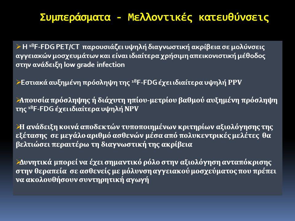 Συμπεράσματα - Μελλοντικές κατευθύνσεις  Η 18 F-FDG PET/CT παρουσιάζει υψηλή διαγνωστική ακρίβεια σε μολύνσεις αγγειακών μοσχευμάτων και είναι ιδιαίτ