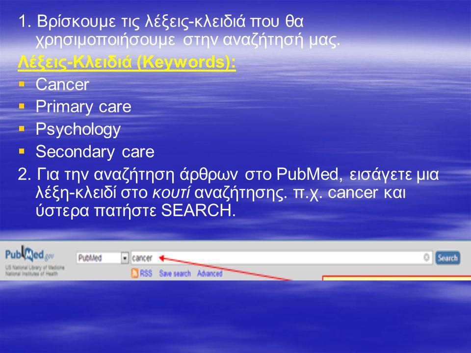 1. Βρίσκουμε τις λέξεις-κλειδιά που θα χρησιμοποιήσουμε στην αναζήτησή μας. Λέξεις-Κλειδιά (Keywords):  Cancer  Primary care  Psychology  Secondar