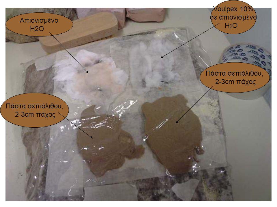 Voulpex 10% σε απιονισμένο H 2 O Aπιονισμένο H2O Πάστα σεπιόλιθου, 2-3cm πάχος Πάστα σεπιόλιθου, 2-3cm πάχος