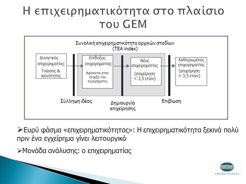 Συνολική επιχειρηματικότητα αρχικών σταδίων (TEA index) Δυνητικός επιχειρηματίας : Γνώσεις & ικανότητες Επίδοξος επιχειρηματίας Βρίσκεται στην έναρξη του εγχειρήματος Νέος επιχειρηματίας (επιχείρηση < 3,5 ετών) Καθιερωμένος επιχειρηματίας (επιχείρηση > 3,5 ετών) Σύλληψη ιδέας Δημιουργία επιχείρησης Επιβίωση  Ευρύ φάσμα «επιχειρηματικότητας»: Η επιχειρηματικότητα ξεκινά πολύ πριν ένα εγχείρημα γίνει λειτουργικό  Μονάδα ανάλυσης: ο επιχειρηματίας