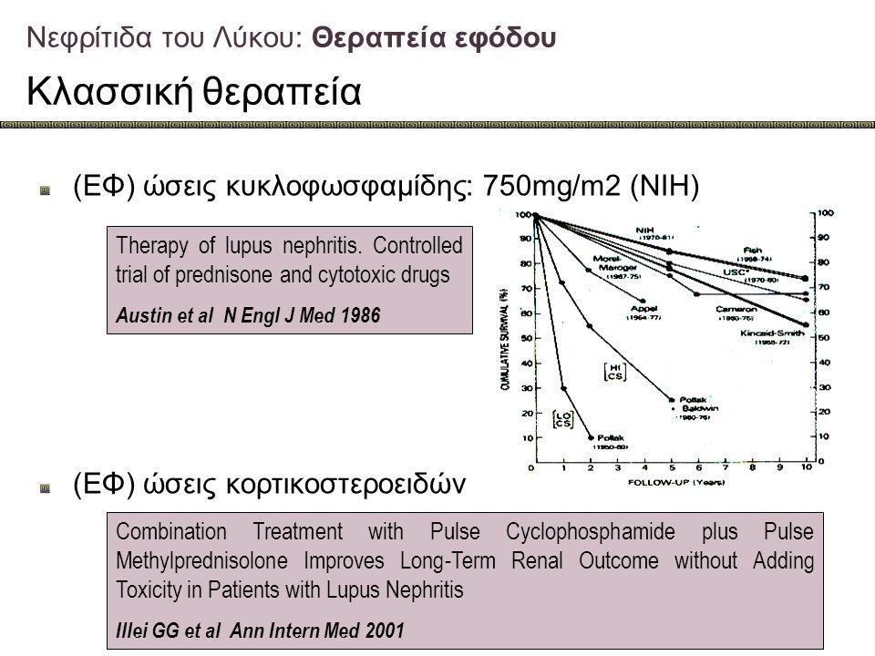 Νεφρίτιδα του Λύκου: Θεραπεία εφόδου Κλασσική θεραπεία (ΕΦ) ώσεις κυκλοφωσφαμίδης: 750mg/m2 (NIH) (ΕΦ) ώσεις κορτικοστεροειδών Therapy of lupus nephri