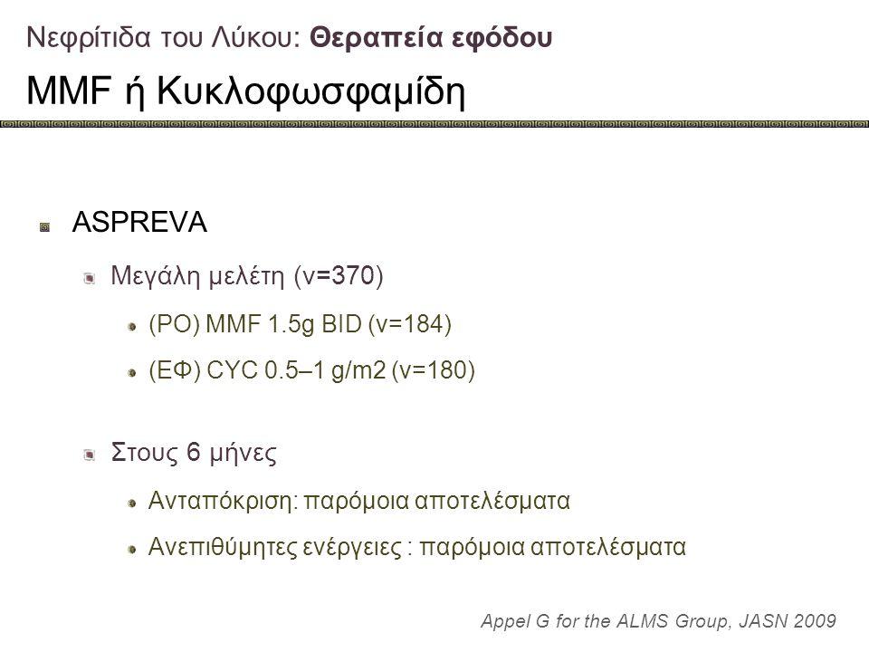 Νεφρίτιδα του Λύκου: Θεραπεία εφόδου MMF ή Κυκλοφωσφαμίδη ASPREVA Μεγάλη μελέτη (ν=370) (PO) MMF 1.5g BID (ν=184) (ΕΦ) CYC 0.5–1 g/m2 (ν=180) Στους 6