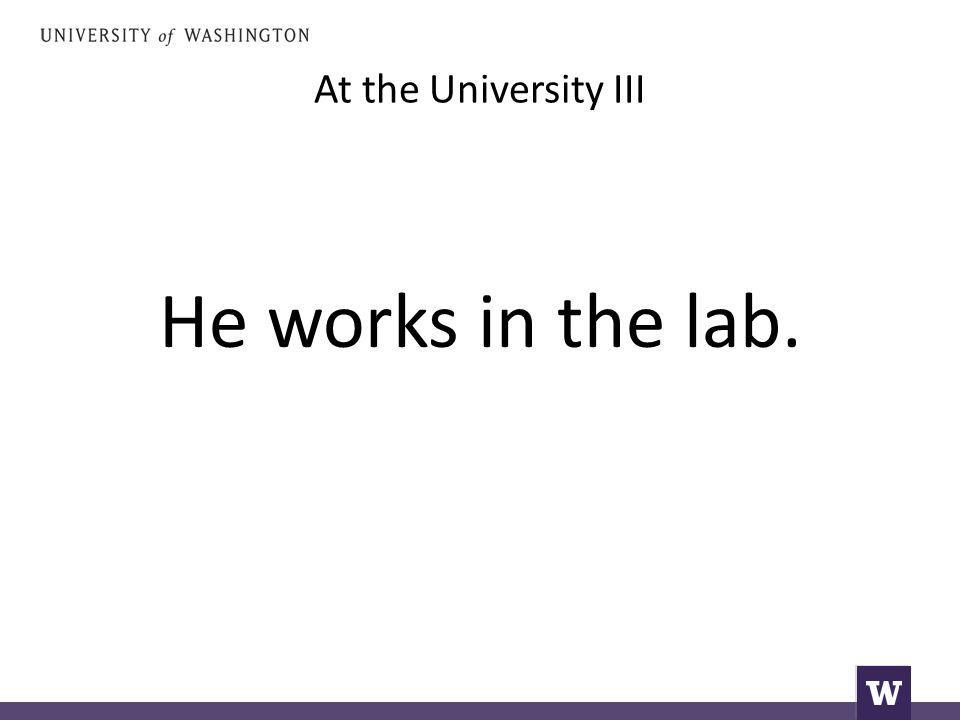 At the University III He works in the lab.