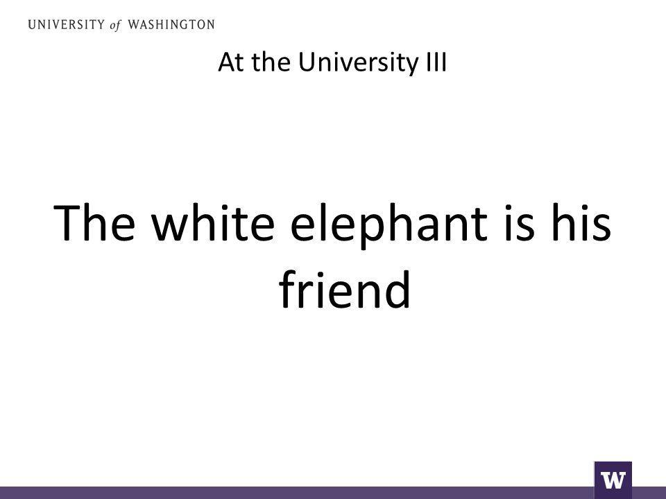 At the University III The white elephant is his friend