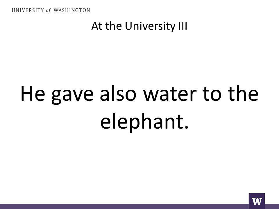 At the University III He gave also water to the elephant.