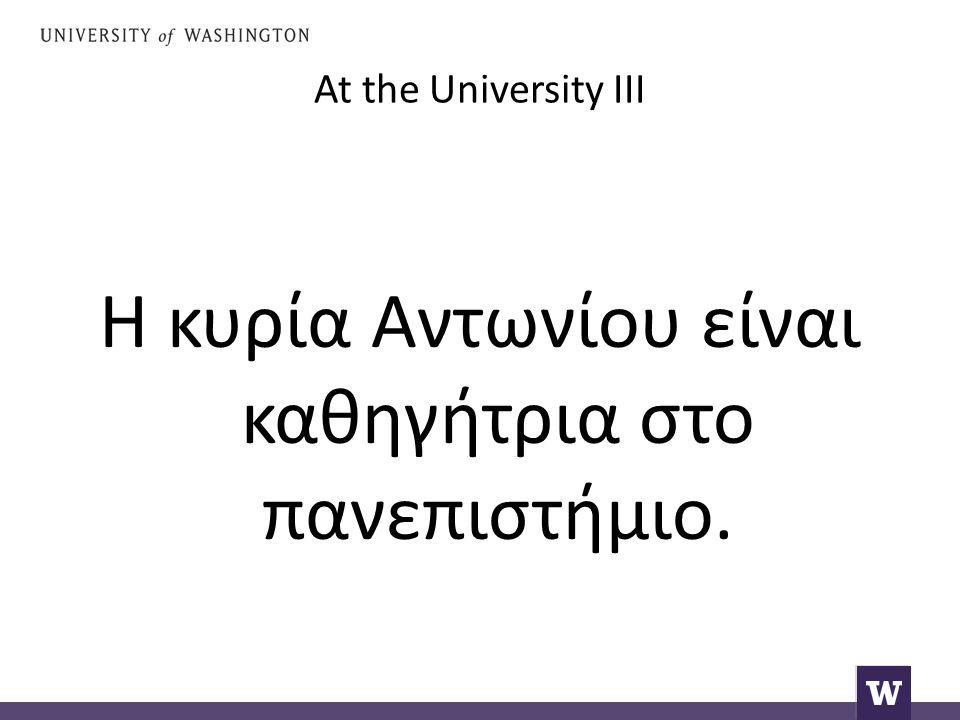 At the University III Η κυρία Αντωνίου είναι καθηγήτρια στο πανεπιστήμιο.