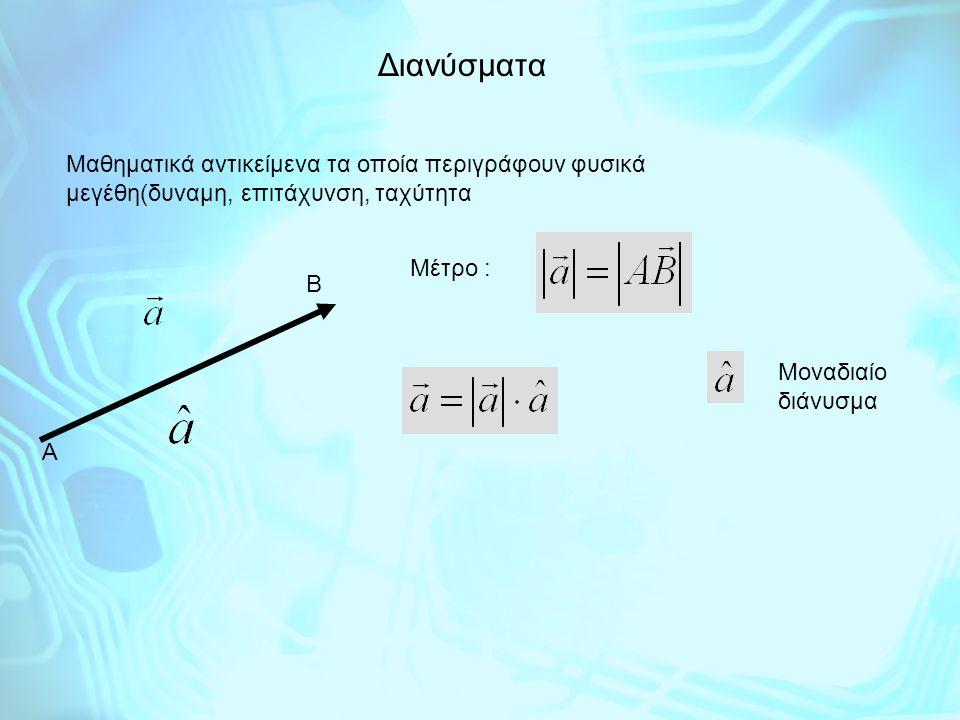 Διανύσματα Μαθηματικά αντικείμενα τα οποία περιγράφουν φυσικά μεγέθη(δυναμη, επιτάχυνση, ταχύτητα Α Β Μέτρο : Μοναδιαίο διάνυσμα