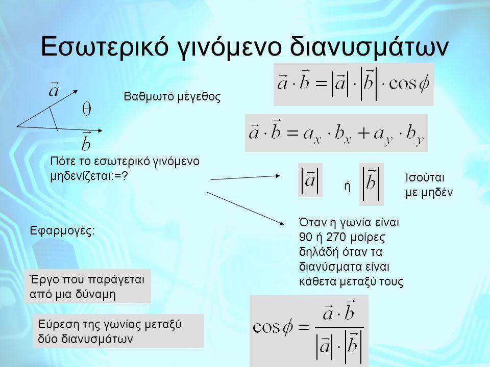 Εσωτερικό γινόμενο διανυσμάτων Βαθμωτό μέγεθος Πότε το εσωτερικό γινόμενο μηδενίζεται:=? ή Ισούται με μηδέν Όταν η γωνία είναι 90 ή 270 μοίρες δηλάδή