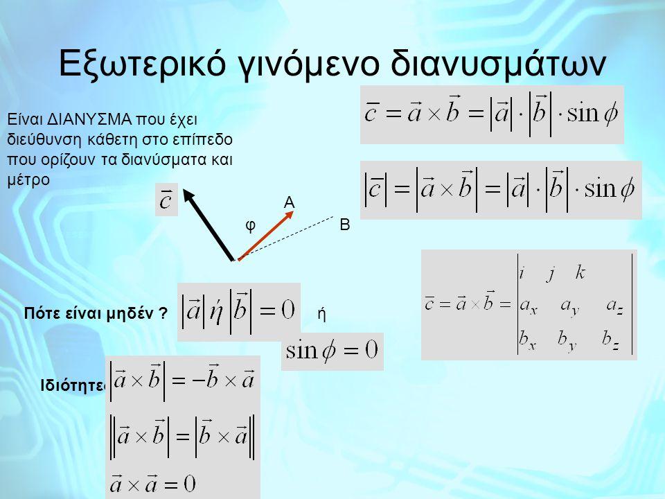 Εξωτερικό γινόμενο διανυσμάτων Είναι ΔΙΑΝΥΣΜΑ που έχει διεύθυνση κάθετη στο επίπεδο που ορίζουν τα διανύσματα και μέτρο Α φΒ Πότε είναι μηδέν ?ή Ιδιότ