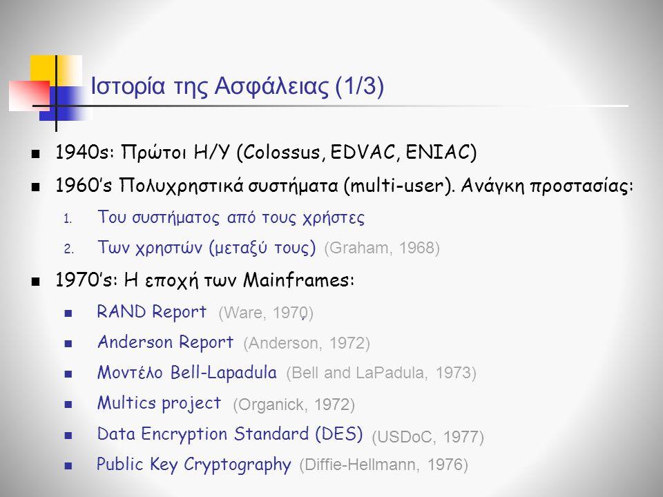 Ιστορία της Ασφάλειας (1/3) 1940s: Πρώτοι Η/Υ (Colossus, EDVAC, ENIAC) 1960's Πολυχρηστικά συστήματα (multi-user). Ανάγκη προστασίας: 1. Του συστήματο
