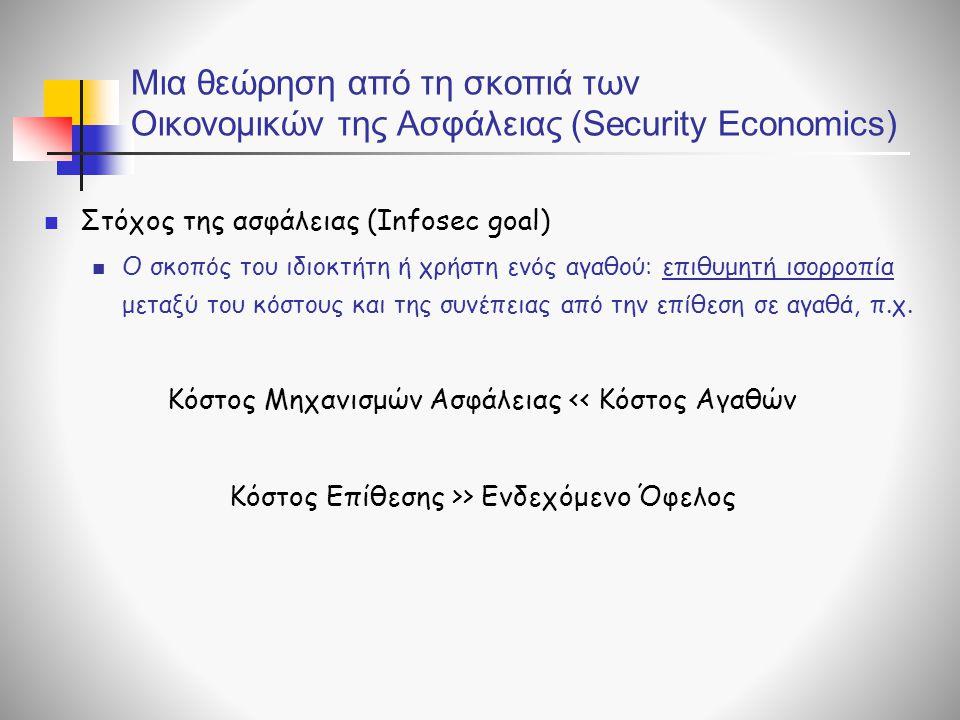 Μια θεώρηση από τη σκοπιά των Οικονομικών της Ασφάλειας (Security Economics) Στόχος της ασφάλειας (Infosec goal) Ο σκοπός του ιδιοκτήτη ή χρήστη ενός αγαθού: επιθυμητή ισορροπία μεταξύ του κόστους και της συνέπειας από την επίθεση σε αγαθά, π.χ.
