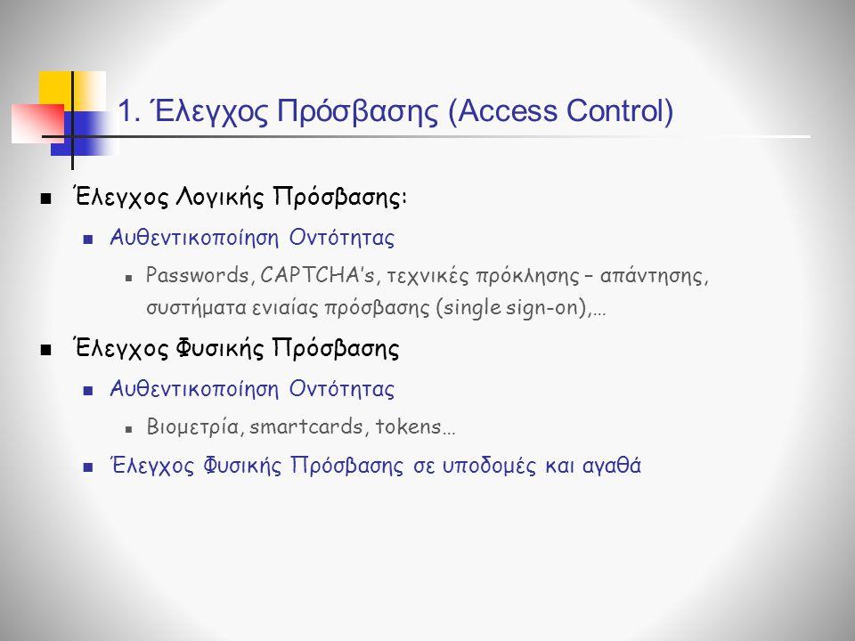 1. Έλεγχος Πρόσβασης (Access Control) Έλεγχος Λογικής Πρόσβασης: Αυθεντικοποίηση Οντότητας Passwords, CAPTCHA's, τεχνικές πρόκλησης – απάντησης, συστή