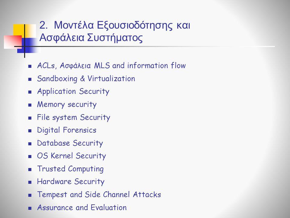 2. Μοντέλα Εξουσιοδότησης και Ασφάλεια Συστήματος ACLs, Ασφάλεια MLS and information flow Sandboxing & Virtualization Application Security Memory secu