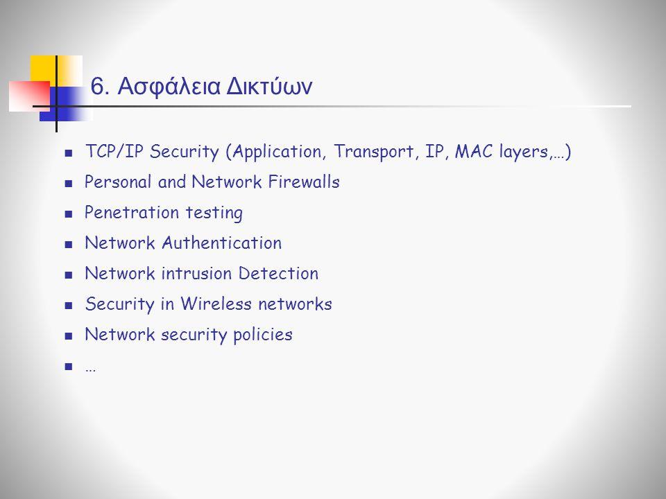 6. Ασφάλεια Δικτύων TCP/IP Security (Application, Transport, IP, MAC layers,…) Personal and Network Firewalls Penetration testing Network Authenticati