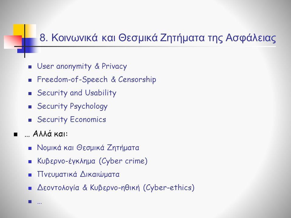 8. Κοινωνικά και Θεσμικά Ζητήματα της Ασφάλειας User anonymity & Privacy Freedom-of-Speech & Censorship Security and Usability Security Psychology Sec