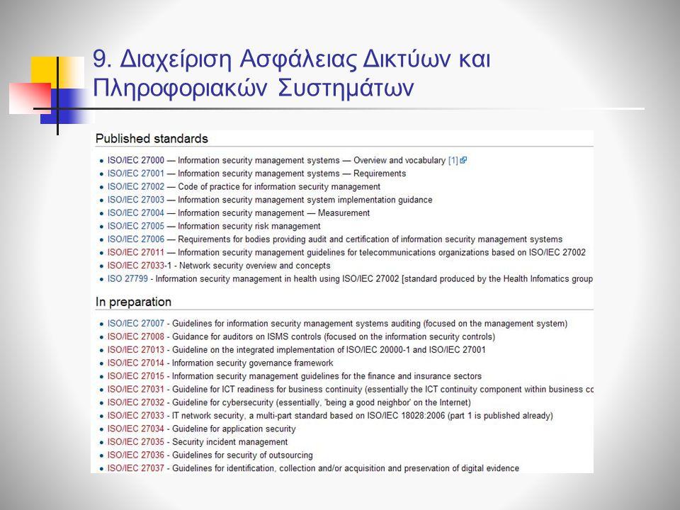 9. Διαχείριση Ασφάλειας Δικτύων και Πληροφοριακών Συστημάτων